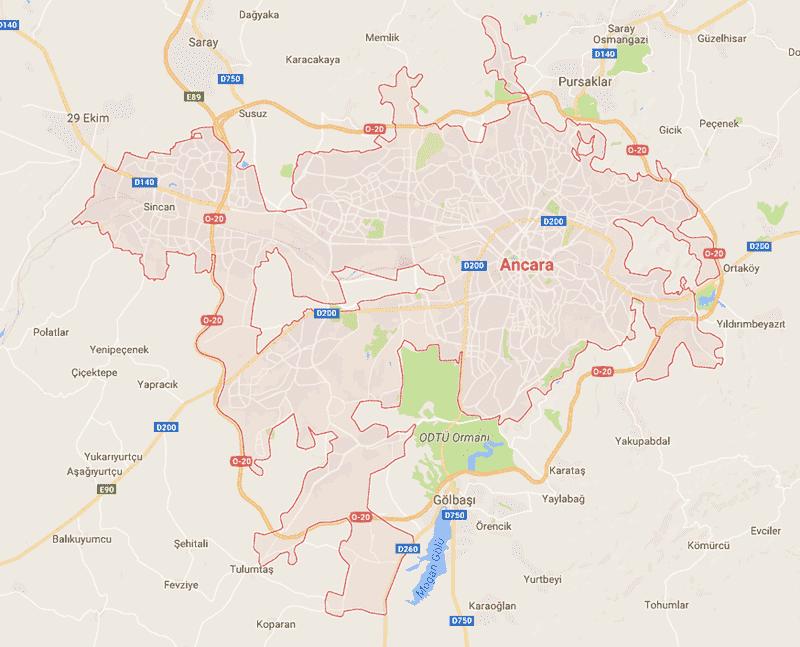 Onde Ficar em Ankara na Turquia: Mapa