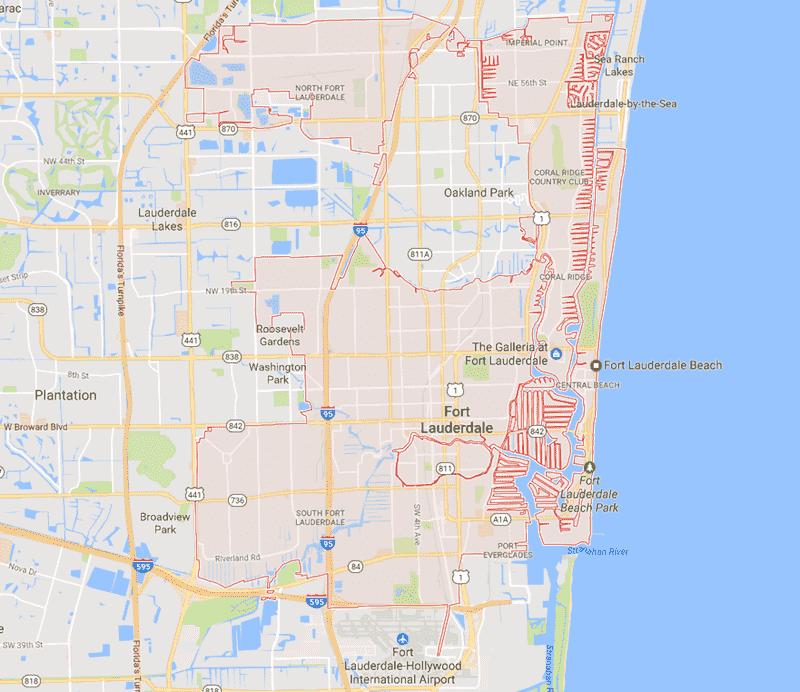 Onde Ficar Em Fort Lauderdale: Mapa