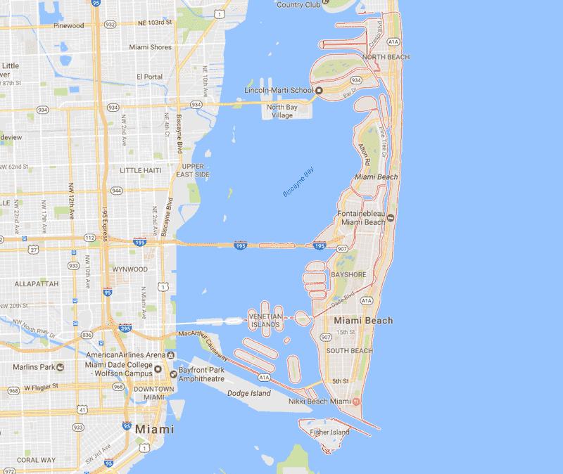 Onde Ficar Em Miami Beach: Mapa