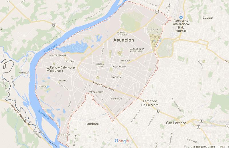 Onde Ficar em Assunção: Mapa