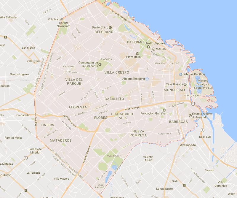 Onde Ficar em Buenos Aires: Mapa