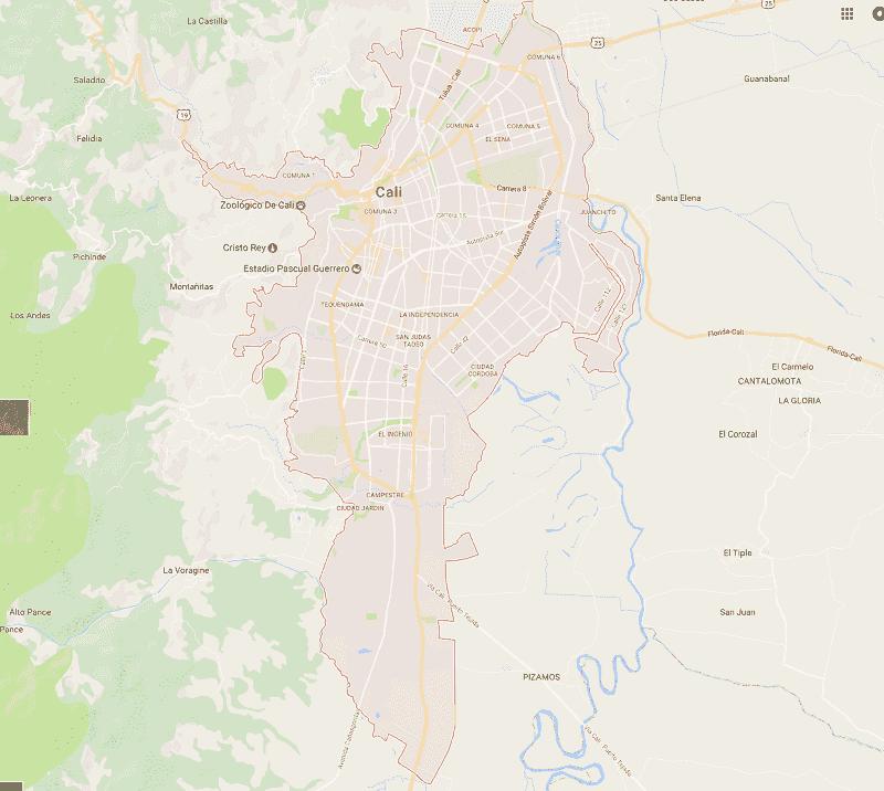Onde Ficar em Cali: Mapa