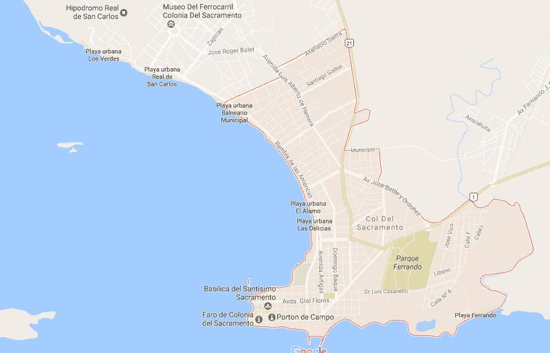 Onde Ficar em Colônia do Sacramento: Mapa