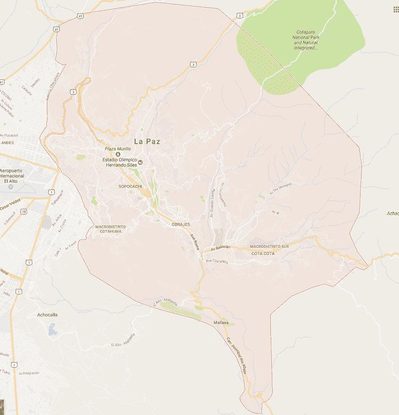 Onde Ficar em La Paz: Mapa
