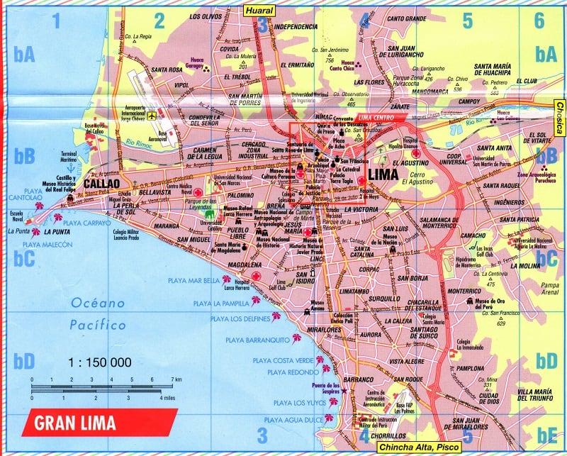Onde Ficar em Lima: Mapa