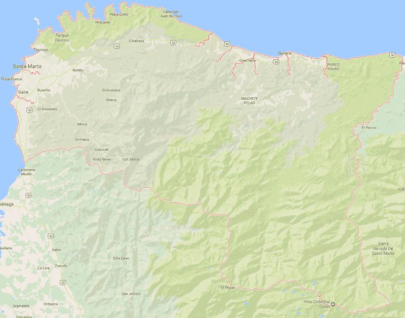 Onde Ficar em Santa Marta: Mapa