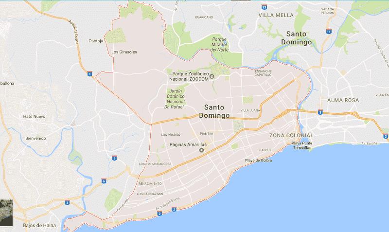 Onde Ficar em Santo Domingo: Mapa