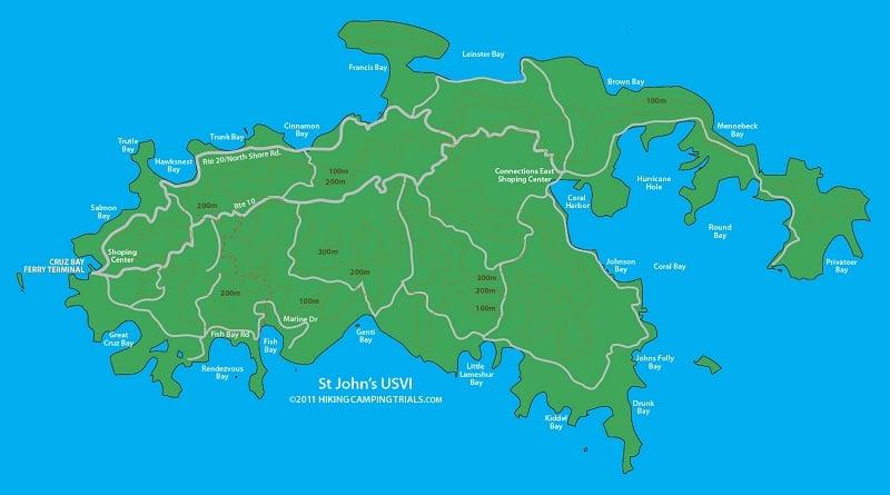 Onde Ficar em St. John: Mapa