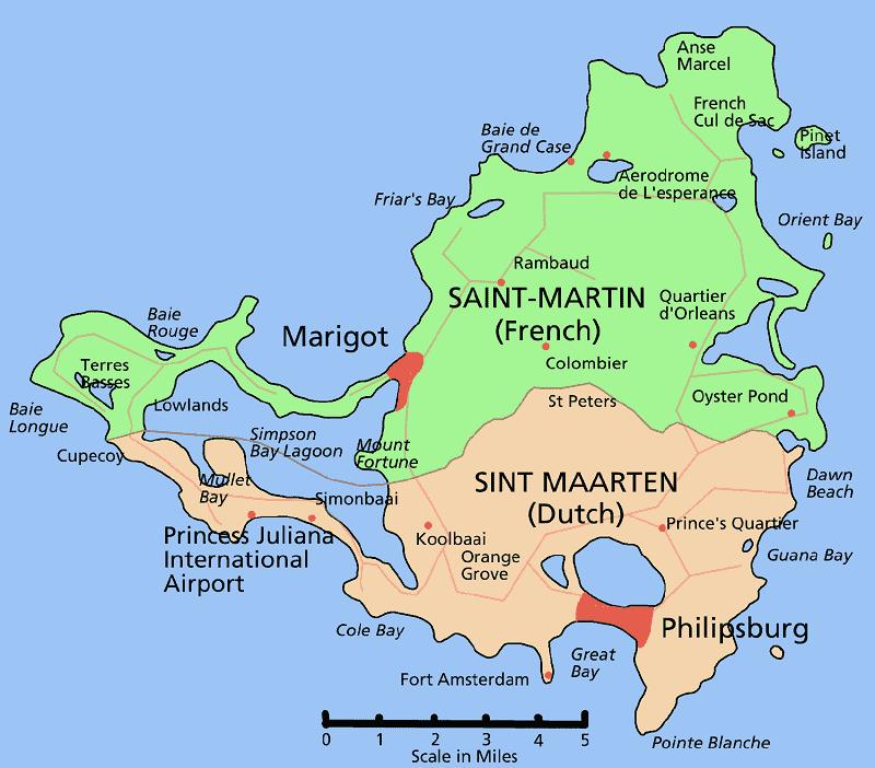 Onde Ficar em St. Martin e St. Maarten: Mapa
