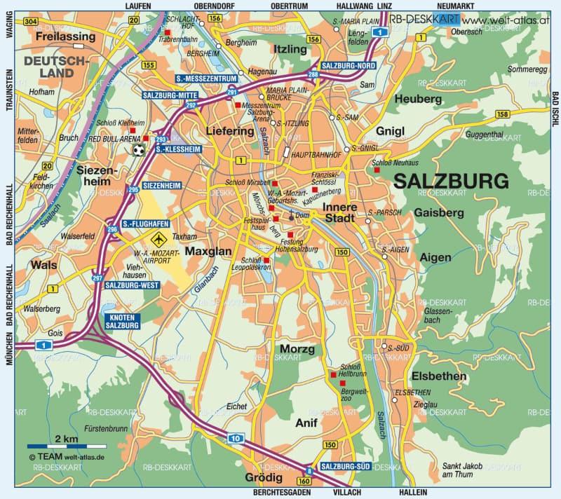 Onde Ficar Em Salzburg na Áustria: Mapa