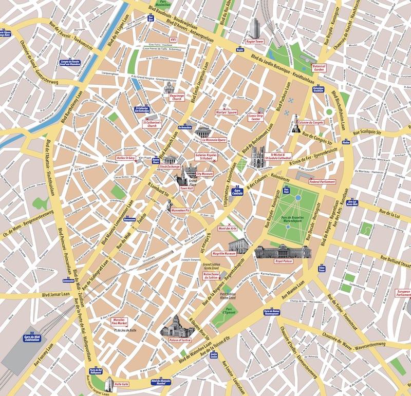Onde Ficar Em Bruxelas Na Bélgica: Mapa