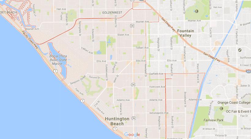 Onde Ficar Em Huntington Beach: Mapa