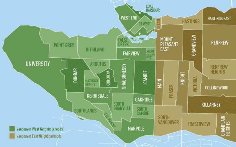 Onde Ficar Em Vancouver: mapa