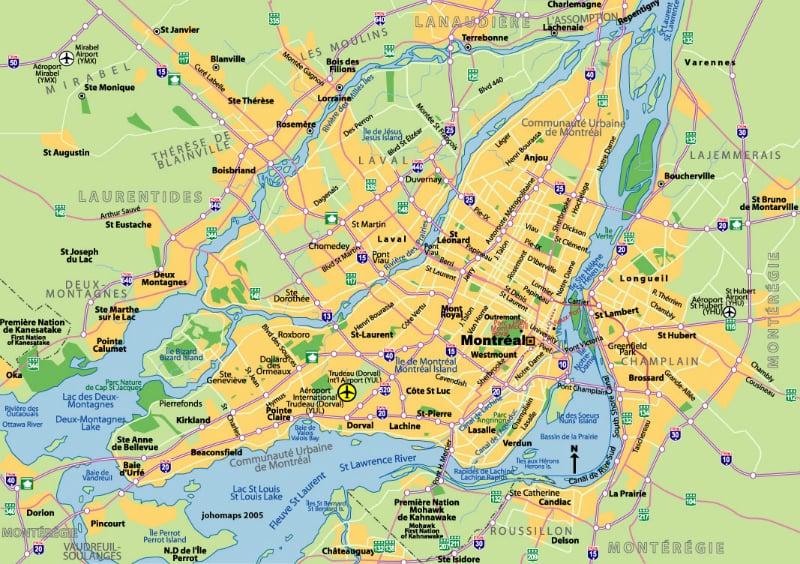 Onde Ficar Em Montreal: Mapa