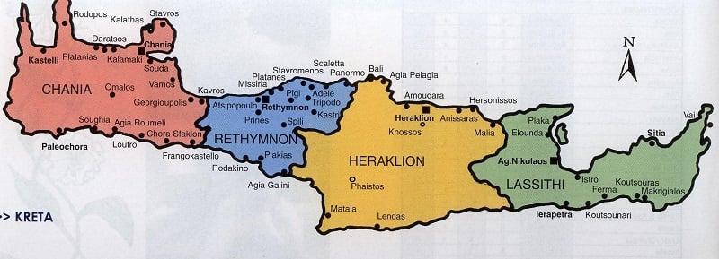Onde Ficar em Creta: Mapa