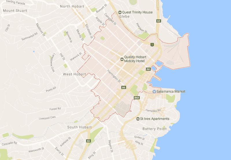 Onde Ficar em Hobart: Mapa