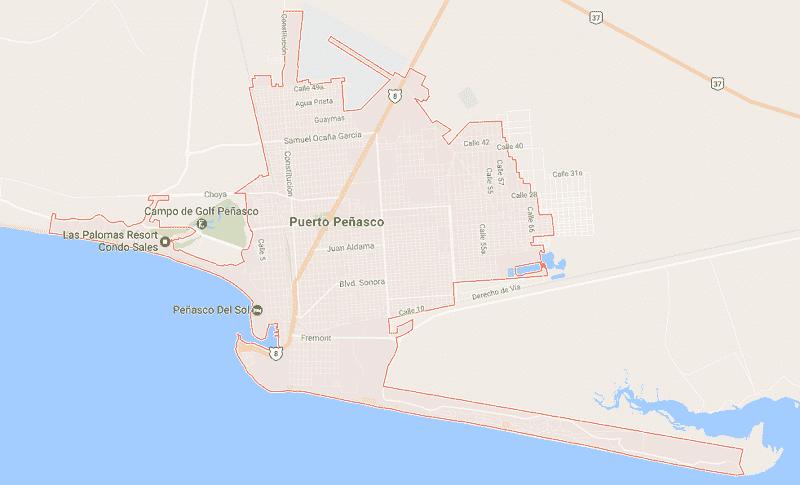 Onde Ficar em Puerto Peñasco: Mapa