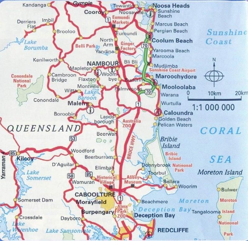 Onde Ficar em Sunshine Coast: Mapa