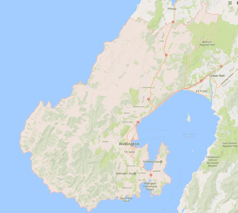Onde Ficar em Wellington: Mapa
