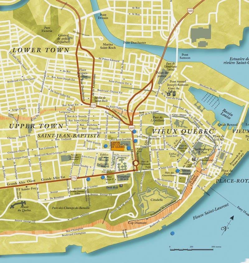 Onde Ficar Em Quebec: mapa