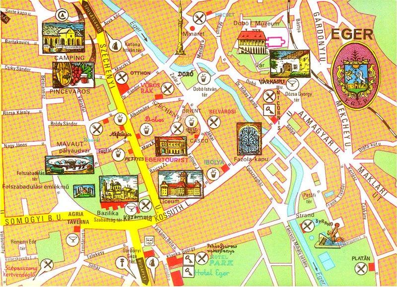 Onde Ficar em Eger na Hungria: Mapa