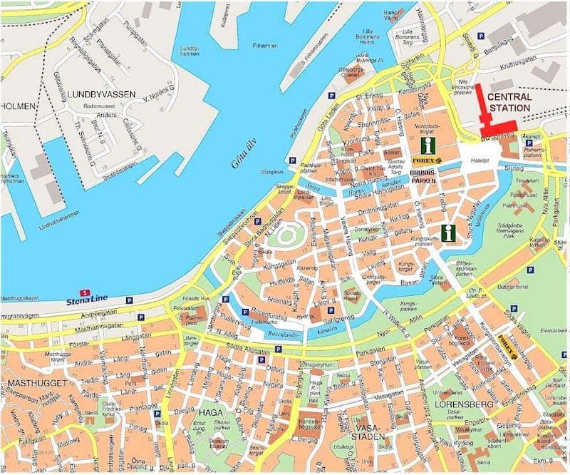 Onde Ficar em Gotemburgo na Suécia: Mapa