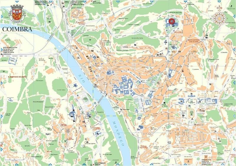 Onde Ficar em Coimbra: Mapa