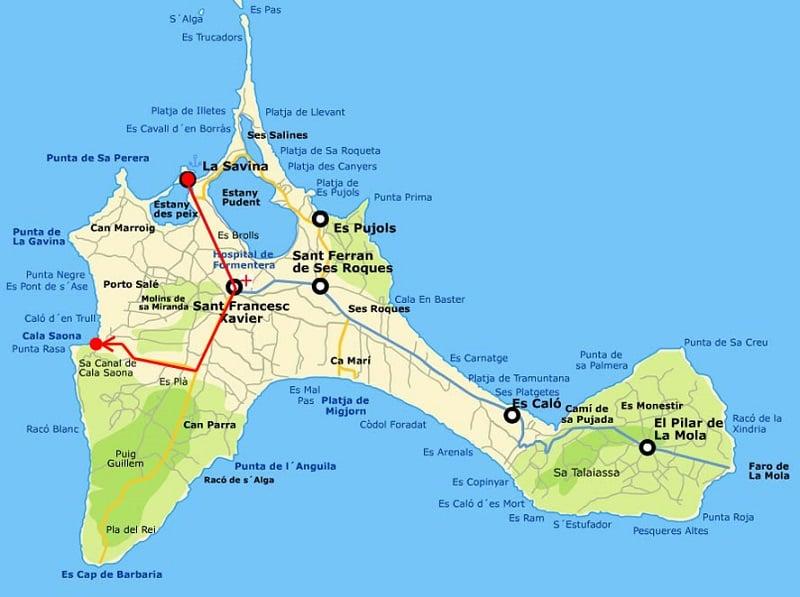 Onde Ficar em Formentera: Mapa
