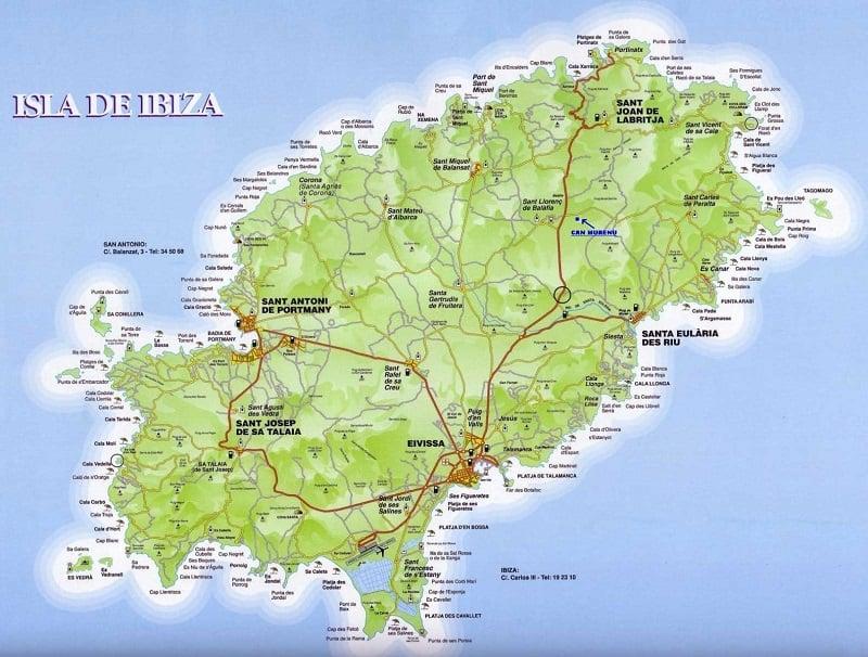 Onde Ficar em Ibiza: Mapa