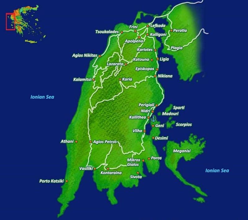 Onde Ficar em Lefkada: Mapa
