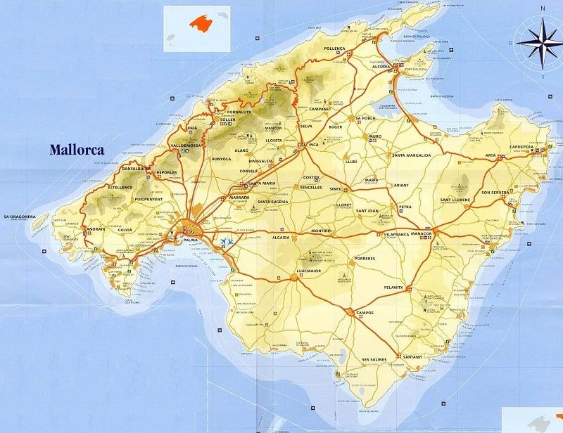 Onde Ficar em Maiorca: Mapa