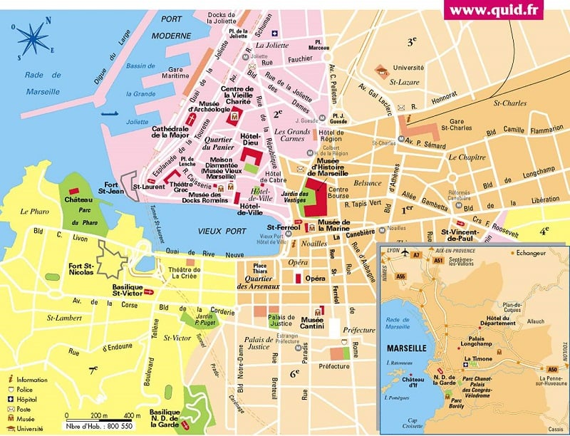Onde Ficar em Marselha: Mapa
