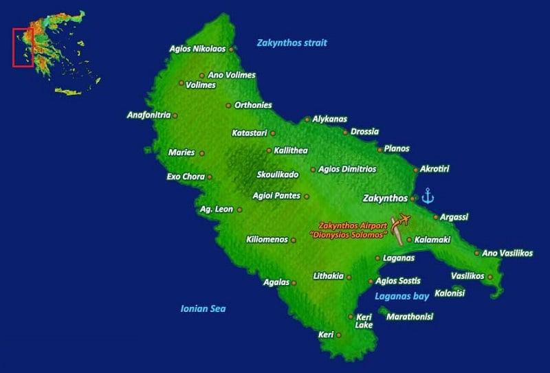 Onde Ficar em Zaquintos: Mapa