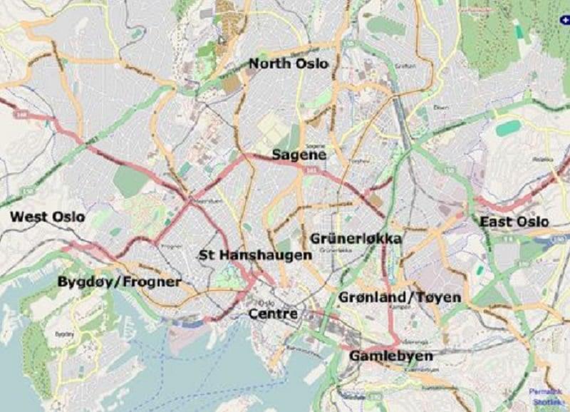 Onde Ficar em Oslo: Mapa