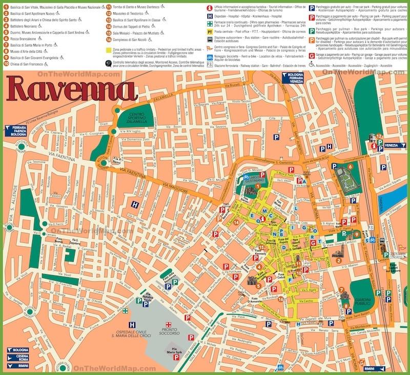 Onde Ficar em Ravenna na Itália: Mapa