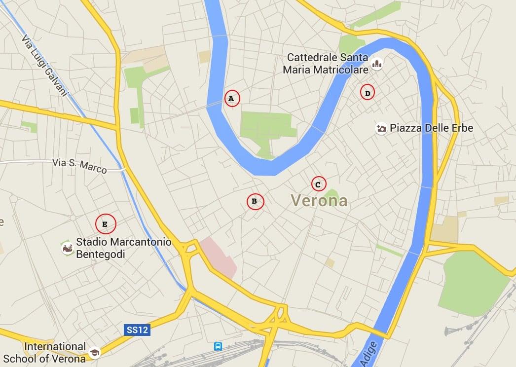 Onde Ficar em Verona: Mapa
