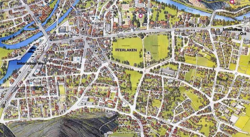 Onde Ficar em Interlaken na Suíça: Mapa