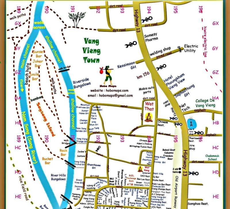 Onde Ficar em Vang Vieng em Laos: Mapa