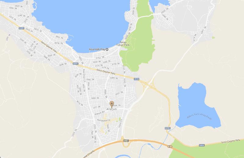Onde Ficar em Alacati na Turquia: Mapa