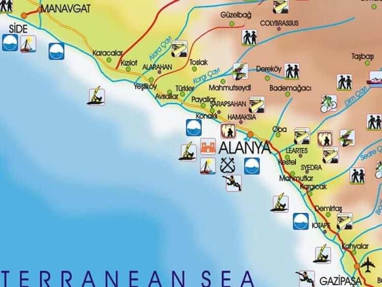Onde Ficar em Alanya na Turquia: Mapa