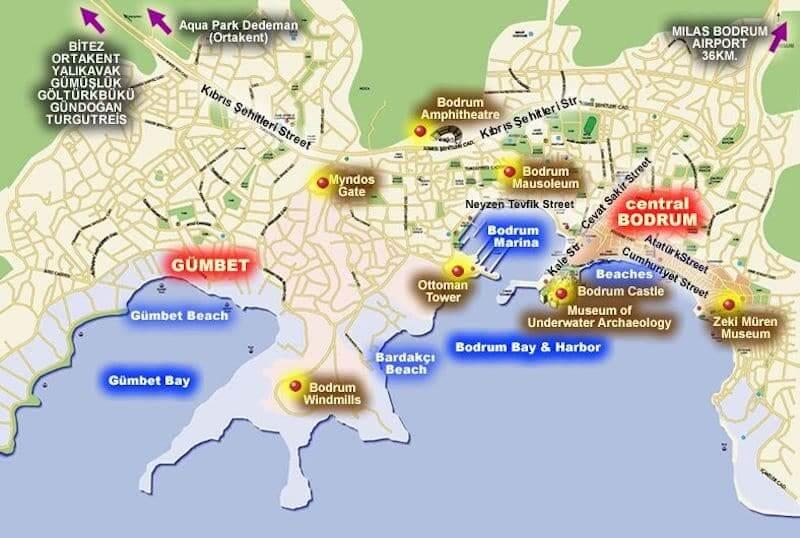Onde Ficar em Bodrum na Turquia: Mapa
