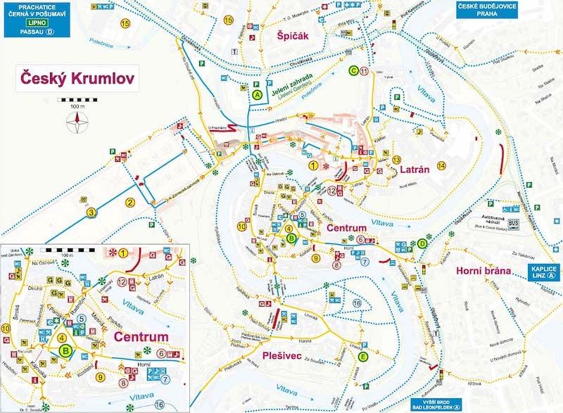 Onde Ficar em Cesky Krumlov na República Tcheca: Mapa