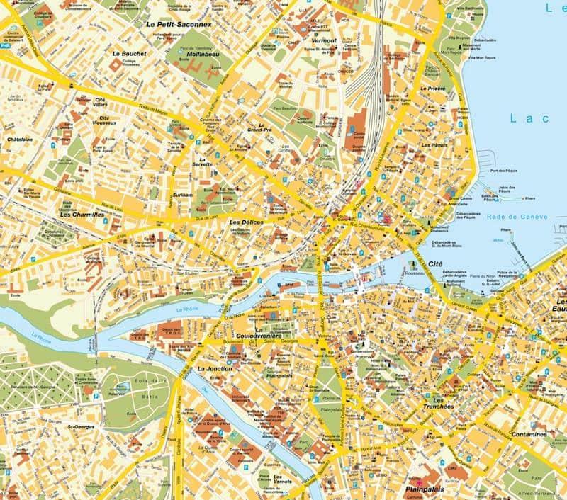 Onde Ficar em Genebra na Suíça: Mapa