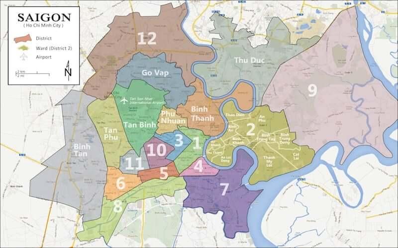 Onde Ficar em Ho Chi Minh no Vietnã: Mapa