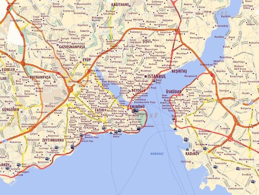 Onde Ficar em Istambul na Turquia: Mapa