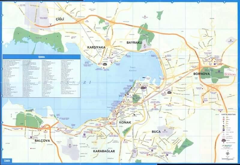 Onde Ficar em Izmir na Turquia: Mapa