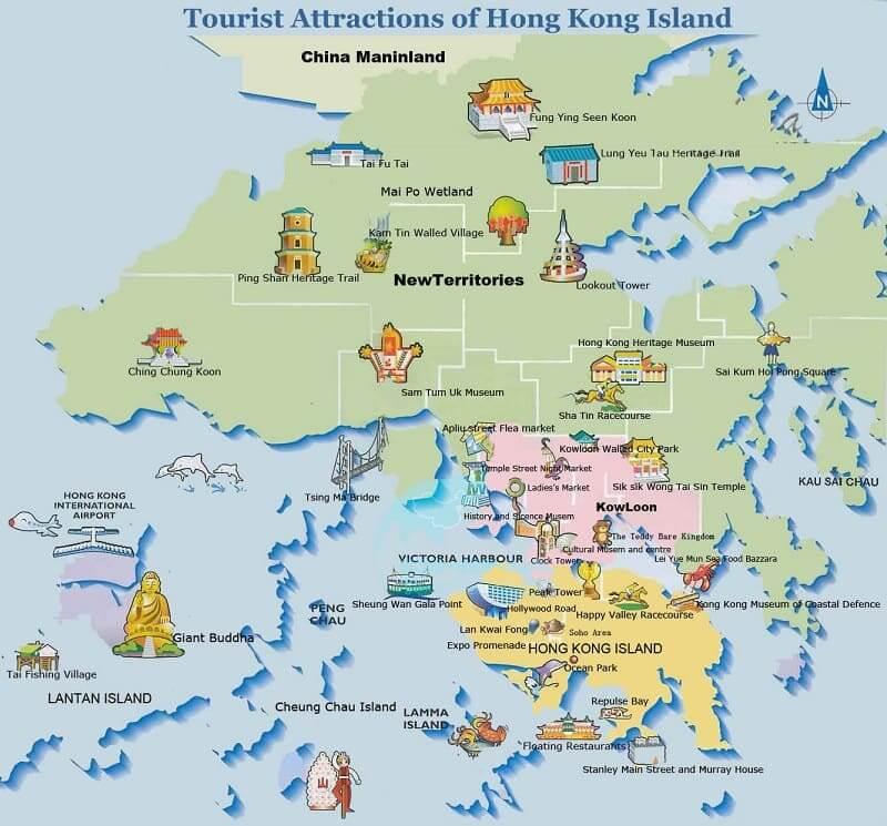 Onde Ficar em Hong Kong: Mapa
