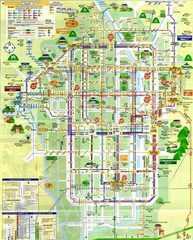 Onde Ficar em Kyoto: Mapa