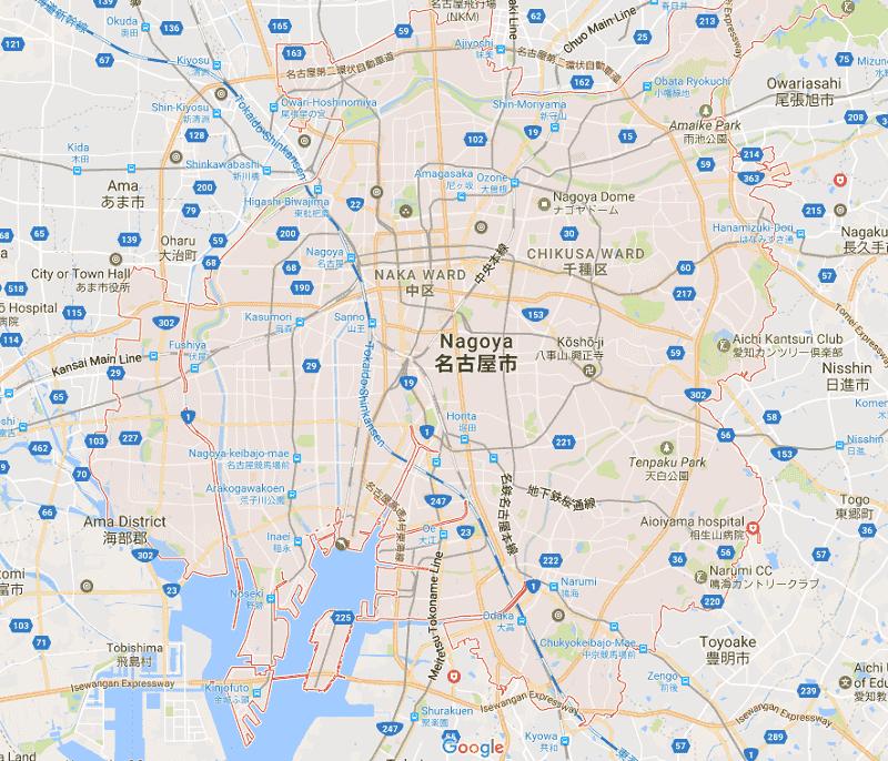 Onde Ficar em Nagoya: Mapa