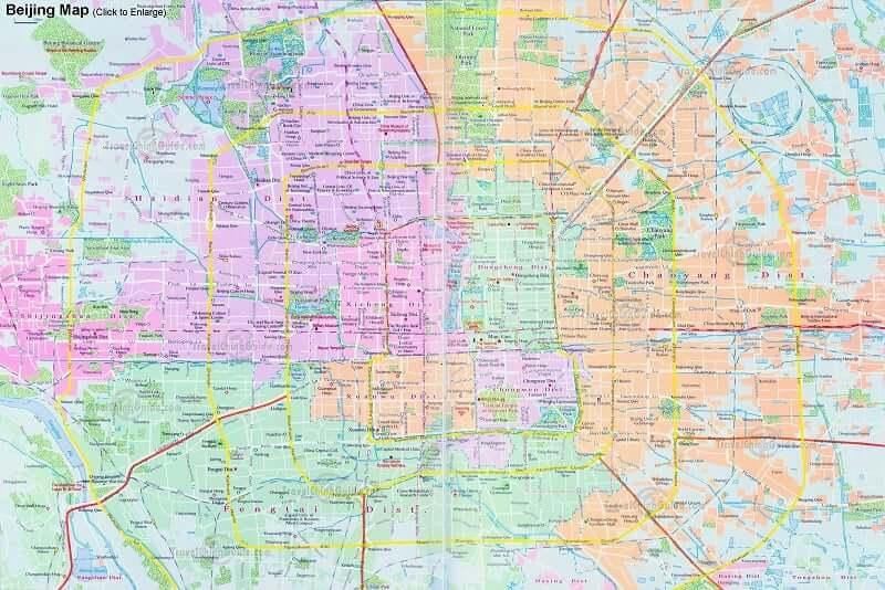 Onde Ficar em Pequim: Mapa